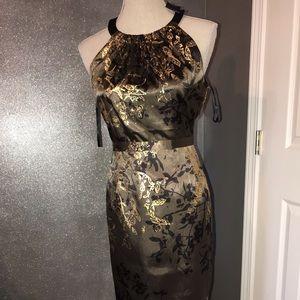 Tahari caramel and gold pearl dress: US 8
